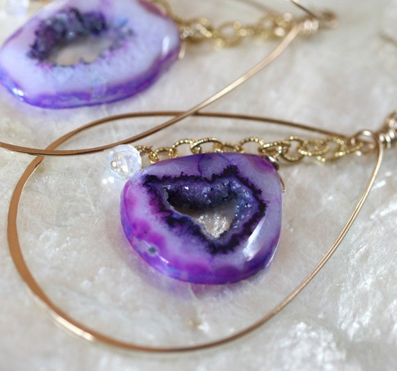Gold Hoop Earrings with Purple Druzy - Druzy Agate Slice Earrings with Moonstone