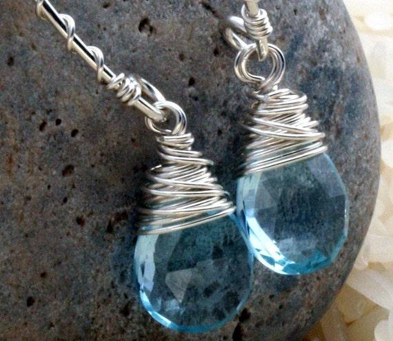 Blue Topaz Earrings -  Blue Topaz and Sterling Silver Earrings - Blue Topaz Briolette Earrings
