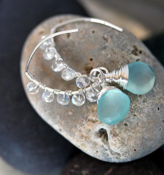 Chalcedony Earrings - Aqua Chalcedony Earrings - Blue and Silver Earrings - Moonstone Earrings