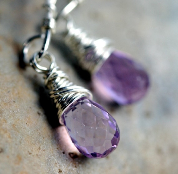 Amethyst Briolette Earrings- Purple Dangle Earrings-  Sterling Silver Earrings - Amethyst Arcs