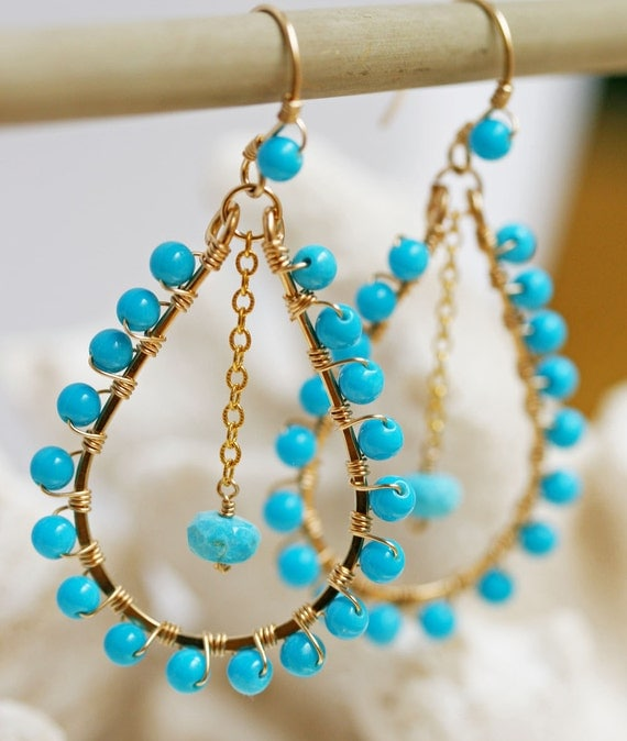 Sleeping Beauty Turquoise  Earrings - Gold Hoop Earrings- Turquoise Jewelry- Turquoise Earrings - Hoop Earrings