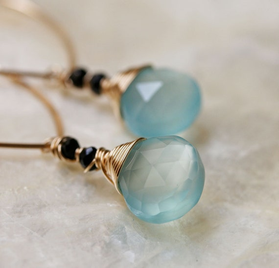 Gold Hoop Earrings with Chalcedony - Aqua Chalcedony Earrings - Hoop Earrings Dangle