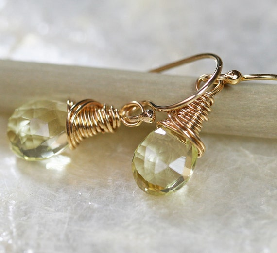Lemon Quartz Earrings - Yellow Drop Earrings -  - Small Earrings -