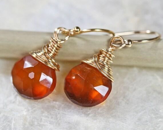 Orange Earrings - Chalcedony Earrings - Small Earrings - Dangle Earrings