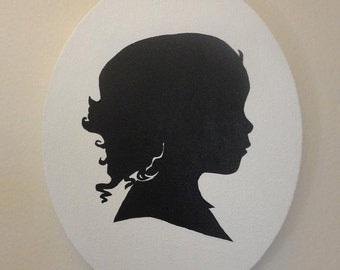 8 x 10 oval Custom Silhouette Portrait Painting