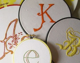 Hand Embroidered Custom Initial - small hoop (4 inches)
