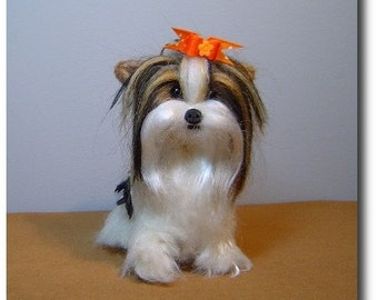 Custom Dog needle felted Biewer Yorkshire Terrier pet art