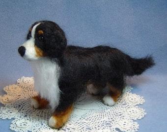 Needle felted Bernese Mountain dog custom pet portrait