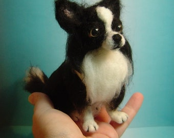 Chihuahua dog custom needle felted portrait sculpture or any breed made to order pet memorial