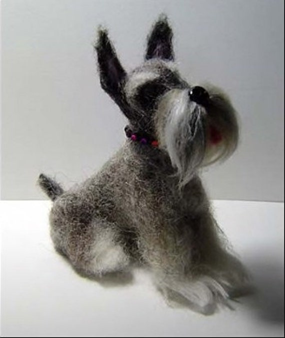 Custom Sculpture Pet portrait Schnauzer dog  handmade needle felted
