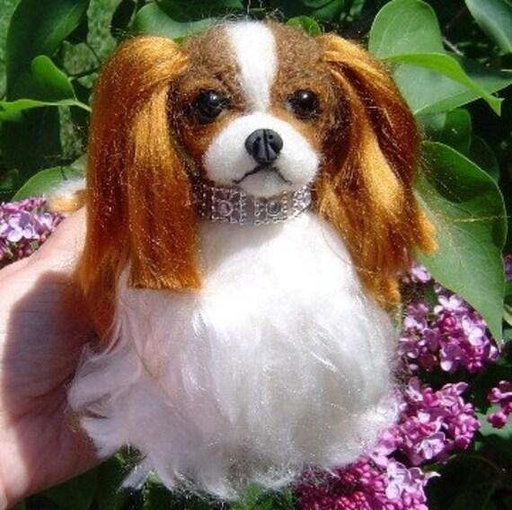 Needle felted custom dog Cavalier King Charles Spaniel sculpture