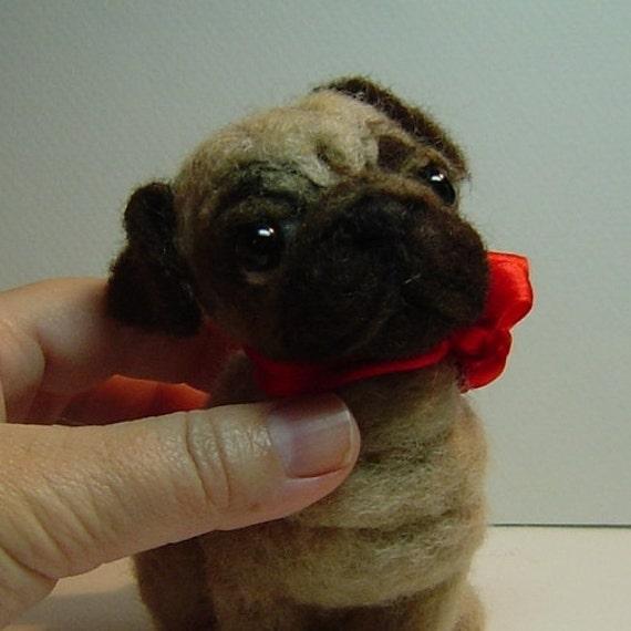 Needle felted custom dog sculpture Pug portrait memorial animal art