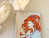 Large gift or jewelry tin, sassy redhead from Fox print