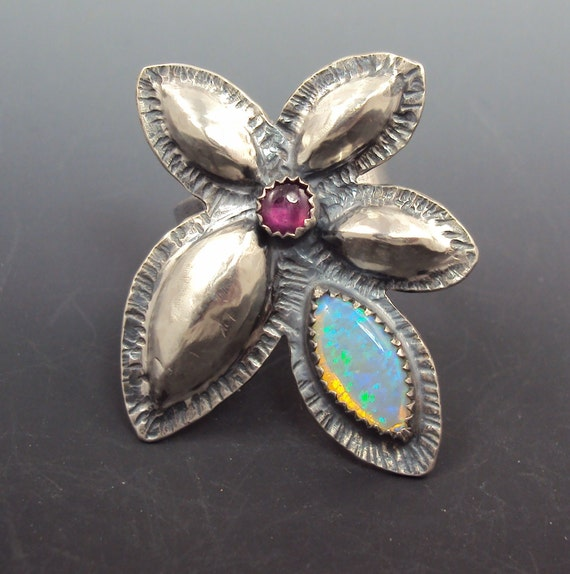 Opal Ring - Repousee Flower Ring with Opal and Ruby