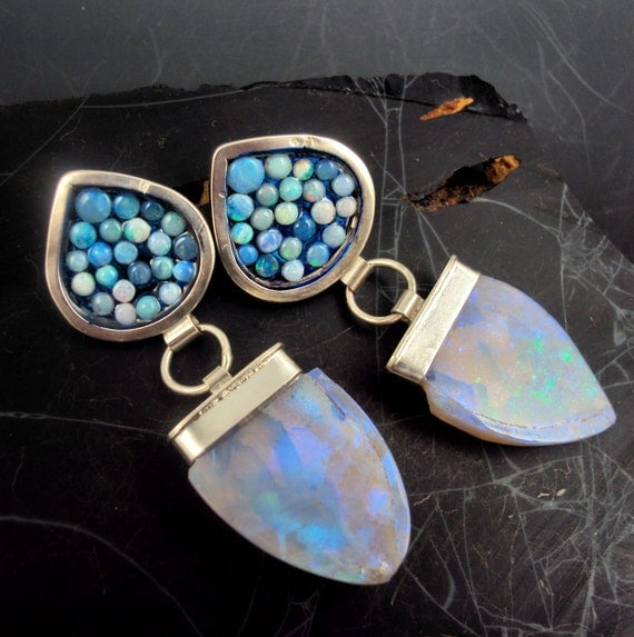Opal Mosaic and Slab Earrings