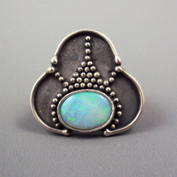 Opal Ring - Opal Ring with Granulation (Australian Opal)