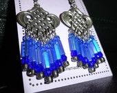 Blue Aluminum Chandelier Earrings