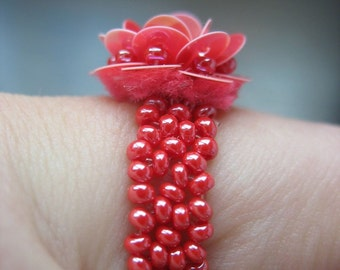 Hot Pink Sequined Cocktail Ring for Petite Finger