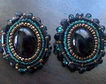 Onxy Beaded Applique Earrings