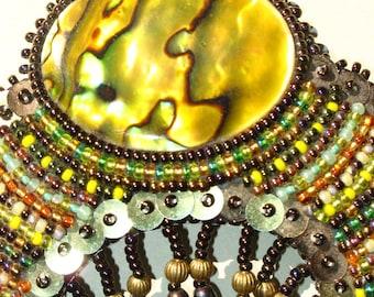 Yellow Paua Beaded Brooch