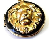 Victorian Lion Head Locket Necklace in Smokey Black-Blue Resin enamel by RotsinaCreations