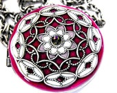 Silver, Fuchsia, Lavender Filigree Locket Necklace-Perfect for your Wedding