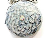 Teal Blue, Pearl White, Silver Filigree Locket, Metal, Vintage