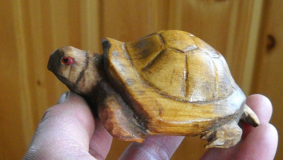 Hand Carved Wood Box Turtle