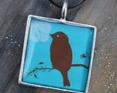 Bird on Limb (Blue) Resin Pendant