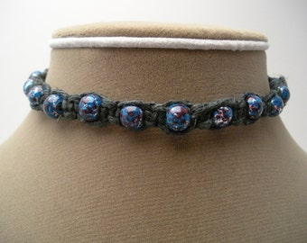 Black Hemp Choker with Blue and Red Glass Beads