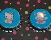 Set of 2 Hello Kitty Bottle Caps for Bow, Headband, Jewelry Making or Scrapbooking