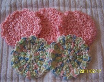 Crocheted Flower Baby Girl Scrubbies - Washcloths
