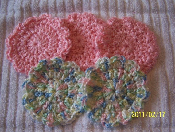 Crocheted Flower Baby Girl Scrubbies - Washcloths