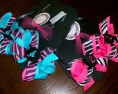 Monogrammed Button and Bow Flip Flops Zebra designs