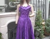 1970s/80s Purple Strapless Dress by John Richard of California