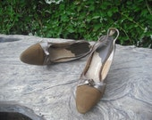 RESERVED 1960s Slingback Heels, Jacqueline Love that Shoe, High Heels, Suede, Brown, Size 8.5