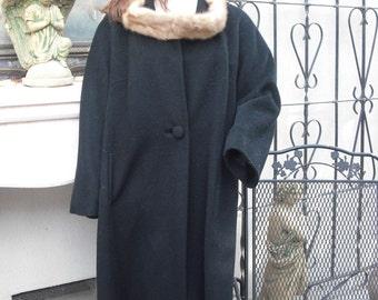 Vintage 1960s Elegant Forstmann Coat,  Virgin Wool Black Wool Coat w/Light Brown Mink Collar, Full Length Coat top of the Line, Exquisite