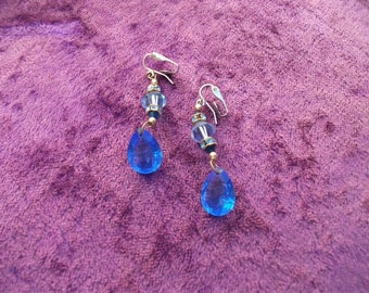 Vintage Blue Crystal and Rhinestone Chandelier Drop Earrings