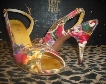 Vintage 50s/60s Mr. Kimel Hand-Made Shoes / Peep Toes/Slingbacks / Size 8.5 / Pink Floral w/Leather Sole