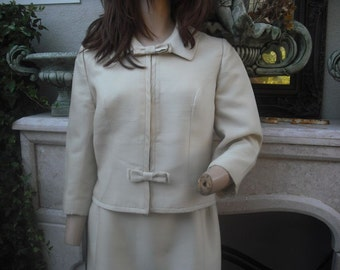 1960s 2 pc. Roth Le-Cover Suit, Creamy White or Ivory Suit,  Mad Men Suit