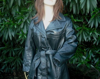 1960s/70s Black Leather Jacket, Black Leather Coat, Quality Leather Car Coat by Hammett's of Modesto  Size 9/10