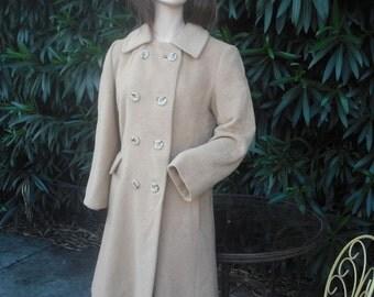 1970s Camel Hair Coat  MEDIUM /Bust up to 38 / CAMEL HAIR