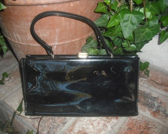 Vintage 1960s Black Patent Leather Handbag