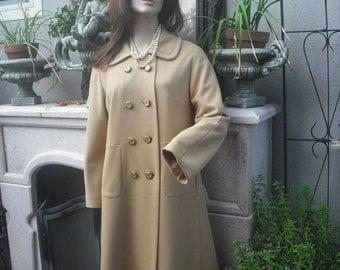 Vintage Doublebreasted Dress Coat / Gold Knit Dress Coat size Large