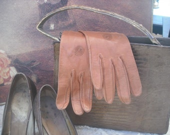 Vintage Tablecut Leather Gloves size 6.5  / Tablecut/washable