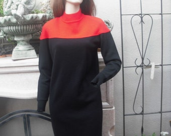Vintage 1980s Saks Fifth Avenue, Black Sweater Dress, Color Blocked Black and Red Wool Dress, Wool