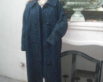 Vintage  Navy BlueBoucle Coat by Hauson California / Wool Full Length Boucle Coat