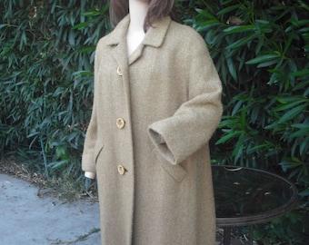 Vintage 1950s/60s Coat, L. C. Mae California, Mohair Coat, Golden Brown Full Length Coat, Winter Coat, Large