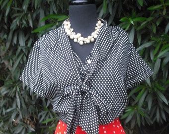 Vintage 1970s Blouse,  Black and White Polka Dotted Secretary Blouse by Lee Mar of California