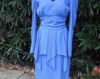 1980s Dress, Day Dress, Secretary Dress, Peplum Style Royal Blue Chiffon Dress by Sylvia Ann size 10